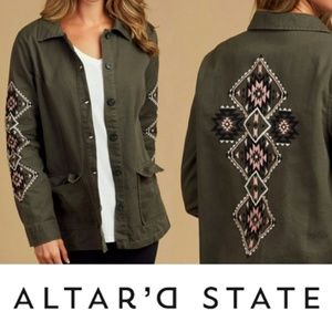 Altar'd State Green Embroidered Jacket Small NWT